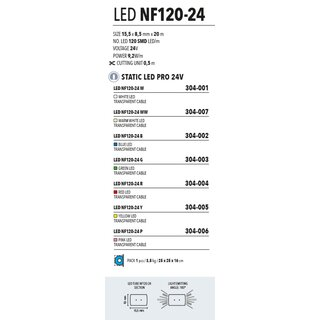 LED NF120-24 P = pink  Kabelfarbe: transparent   Lichtschlauch 24V --> Led Pro Low Voltage