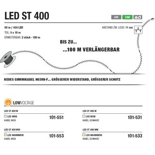 LED ST 400 W   Kabelfarbe: weiß   Lichterkette 24V --> Led Pro Low Voltage
