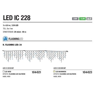 LED IC 228 W-WF   Kabelfarbe: weiß   Eiszapfen --> Led Pro 230V