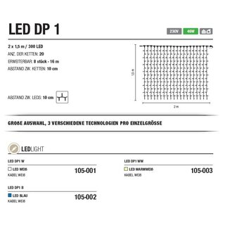 LED DP 1 W   Kabelfarbe: weiß   Lichtvorhang --> Led Pro 230V
