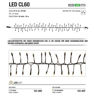 LED CL60 WW   Kabelfarbe: schwarz   Lichterkette --> Led Pro 230V