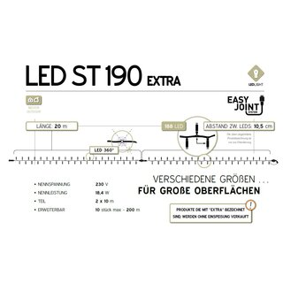 LED-ST190-WW: 10m LED Lichterkette, 95 warm weißes LED, weißes Gummi Kabel, 1x10m Segmente, erweiterbar 10 Ketten, Easy Joint, 18.4W, 230V (AC2-LED not included)    --> Licht